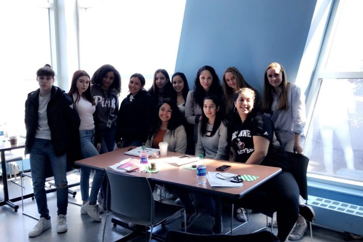 (from left to right) Tiffany Fales, Tiara Fales, Elaine Tiruneh, Catherine Peralta, Sabrina Cetinich, Leslie Castro, Janet Shenouda, Sara Leong, Reem Abughannam, Olivia Cahn, Aya Abdalla, and Josephine Conlon attended the Symposium at Liberty Science Center